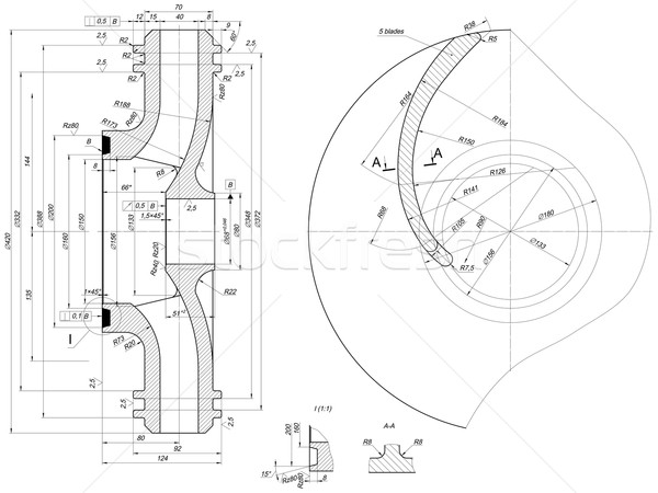 Wiel engineering schets lijnen hoek nummers Stockfoto © cherezoff
