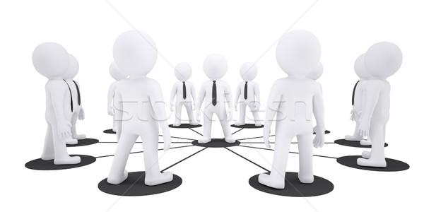 Ingesteld witte marionet mensen geïsoleerd leider Stockfoto © cherezoff