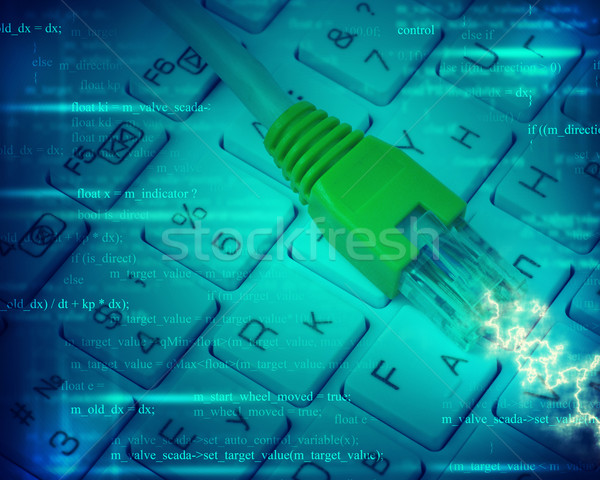 Kabel komputerowy klawiatury streszczenie niebieski numery komputera Zdjęcia stock © cherezoff