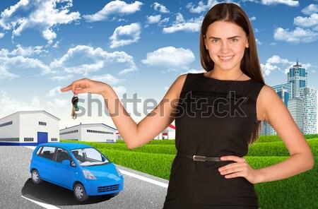 Businesswoman with car Stock photo © cherezoff