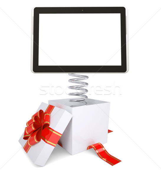 Gift box with red band and tablet Stock photo © cherezoff