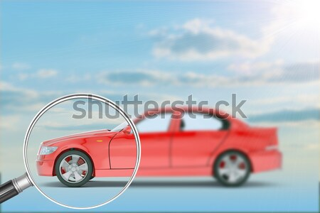 Blue sky with clouds and red car Stock photo © cherezoff