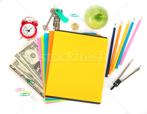 Cash Büro Bleistift Tasse Buntstifte Apfel Stock foto © cherezoff