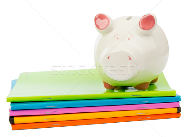 Piggy bank on pile of copybooks Stock photo © cherezoff