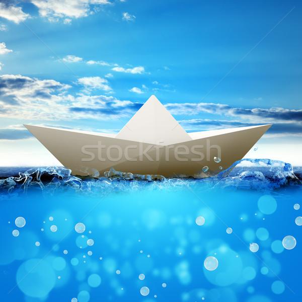 White paper boat Stock photo © cherezoff