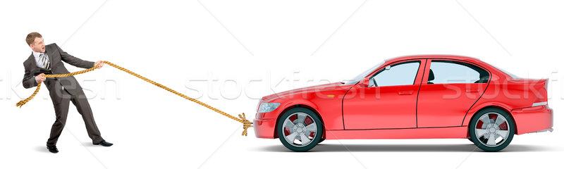 Zakenman Rood auto geïsoleerd witte Stockfoto © cherezoff