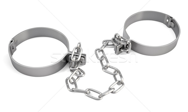 Rendered handcuffs. Close up view Stock photo © cherezoff