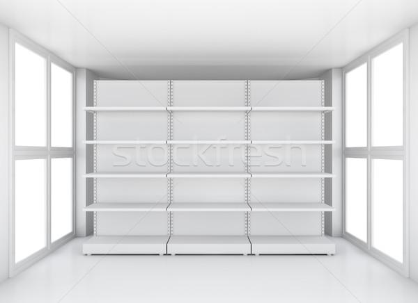 White supermarket retail store shelves in room Stock photo © cherezoff
