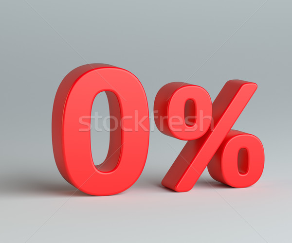 Red zero with percentage sign on gray background Stock photo © cherezoff