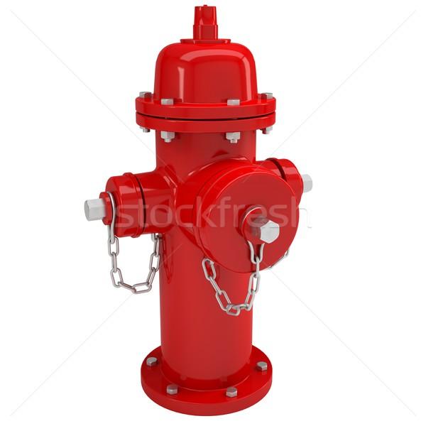 Rood brand geïsoleerd geven witte stad Stockfoto © cherezoff