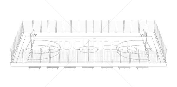 Basketbalveld draad frame 3d render geïsoleerd zwarte Stockfoto © cherezoff
