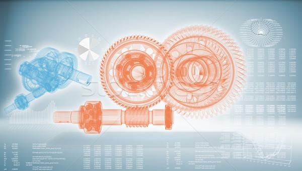 Viselet kék jövő technológia üzlet terv Stock fotó © cherezoff