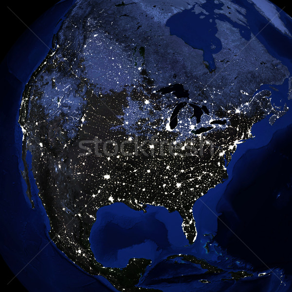Night surface of the planet earth Stock photo © cherezoff