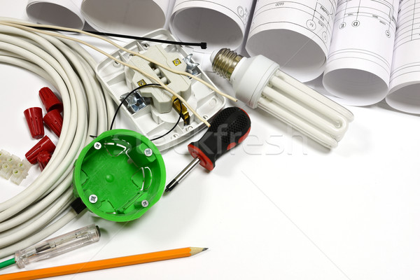 Drawing rolls, electrical hardware tools and appliances composition Stock photo © cherezoff