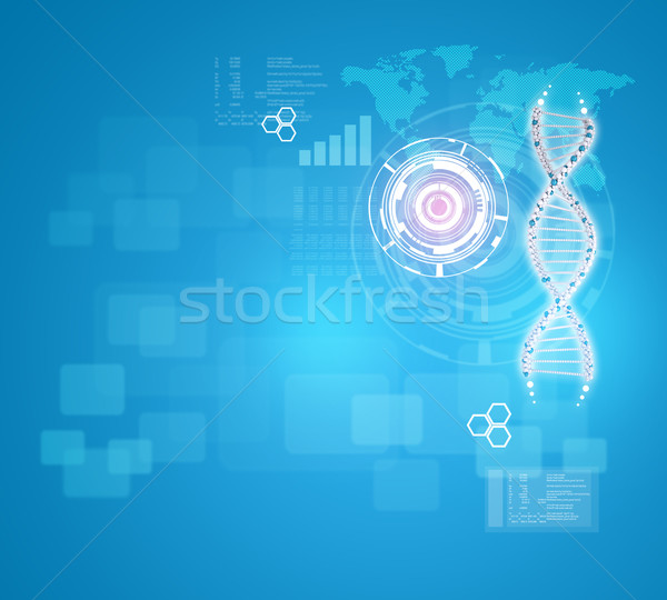 Human DNA. Background of red ring with hexagon, world map and information board Stock photo © cherezoff