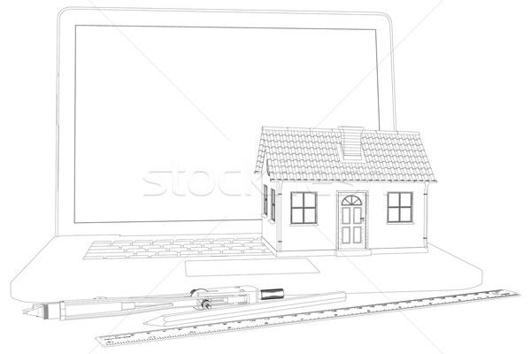 Sketch of house, laptop and engineer tools. Vector illustration Stock photo © cherezoff
