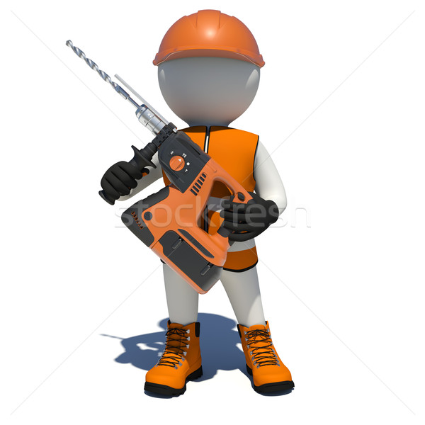 Worker in overalls holding electric perforator. Isolated Stock photo © cherezoff