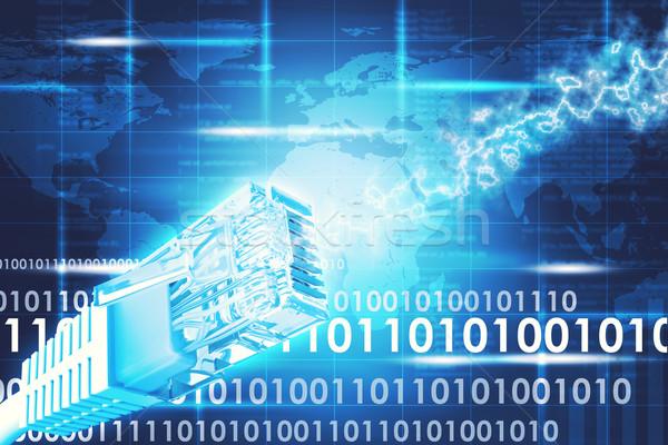 Kabel komputerowy streszczenie niebieski mapie świata komputera Pokaż Zdjęcia stock © cherezoff