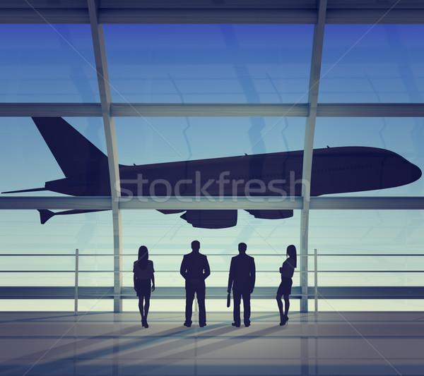 Guardando jet vista posteriore interni view Foto d'archivio © cherezoff