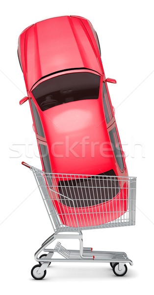Red car in shopping cart Stock photo © cherezoff