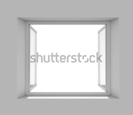 Abrir janela vazio branco parede 3D Foto stock © cherezoff