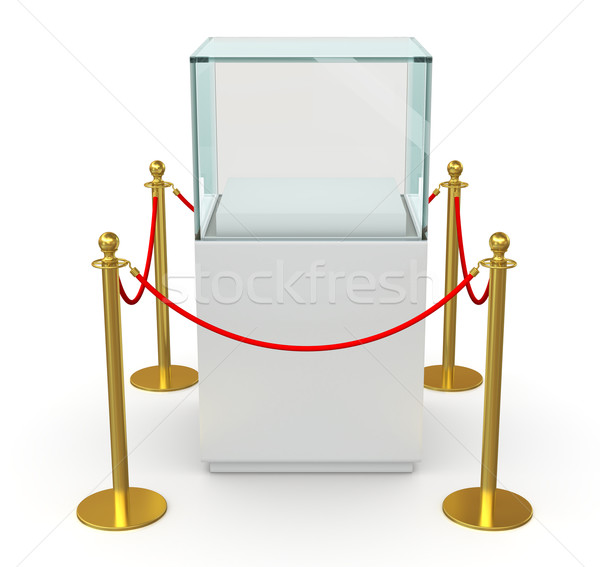 Empty glass cube with barrier rope Stock photo © cherezoff