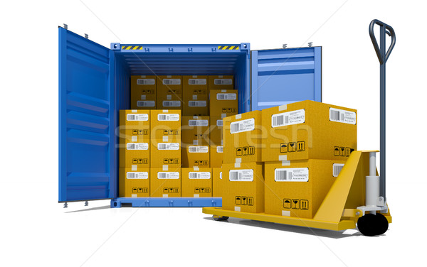 Cargo container with boxes and pallet trolley Stock photo © cherezoff