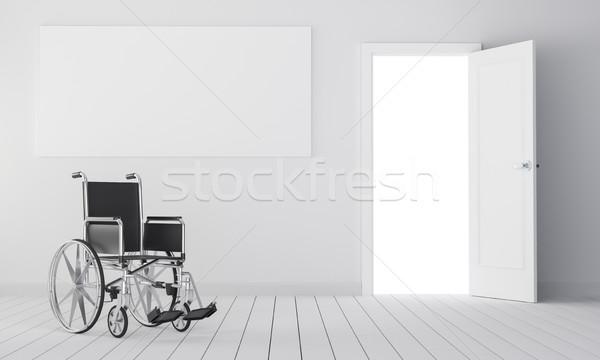 Rollstuhl Zimmer offenen Tür leer Stelle Inhalt Stock foto © cherezoff
