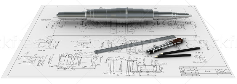 metal shaft, compasses, rulers and pencils at an engineering drawing Stock photo © cherezoff