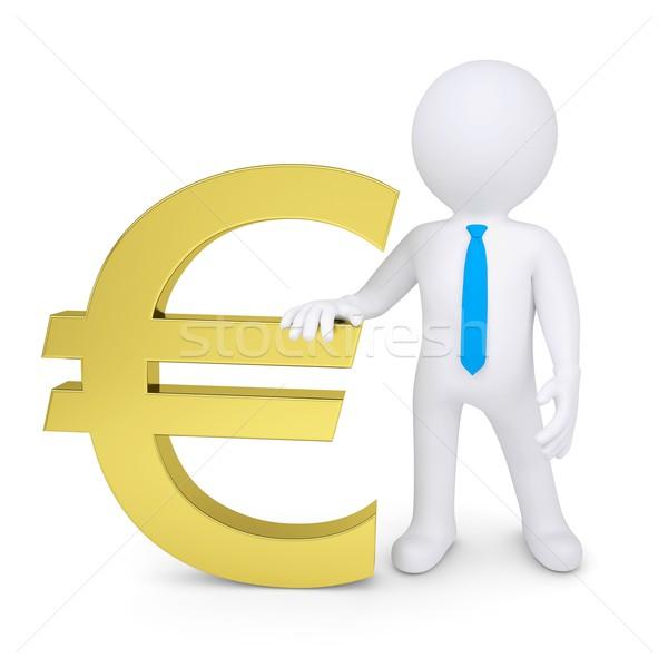 Bianco uomo 3d euro segno isolato Foto d'archivio © cherezoff