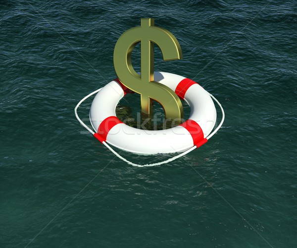 Dollar sign in a lifebuoy in the water Stock photo © cherezoff