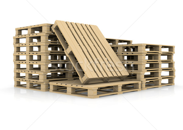 Stock photo: Group wooden pallets
