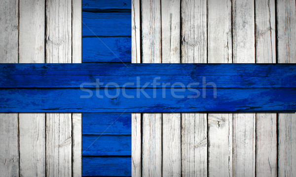 Finnish flag painted on wooden boards Stock photo © cherezoff