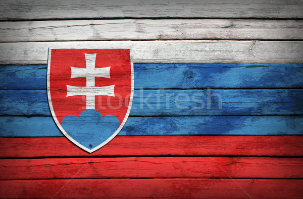 Slovak flag painted on wooden boards Stock photo © cherezoff