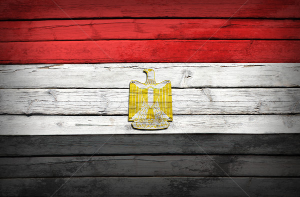 Egyptian flag painted on wooden boards Stock photo © cherezoff