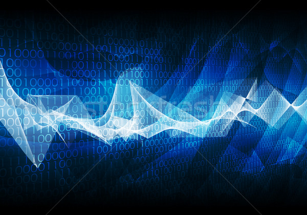 Glowing figures and waves. Hi-tech background Stock photo © cherezoff