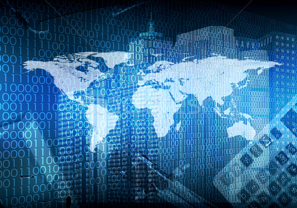 Glowing figures and world map. Hi-tech background Stock photo © cherezoff