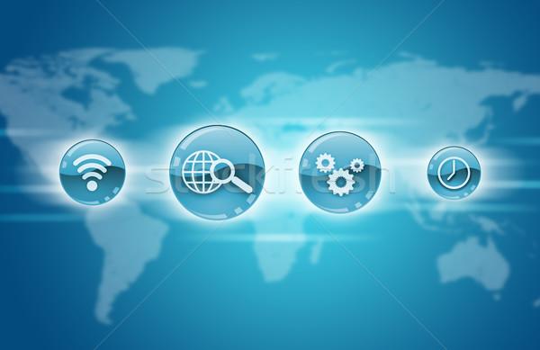 Blauw toepassing iconen wereldkaart computer wereldbol Stockfoto © cherezoff