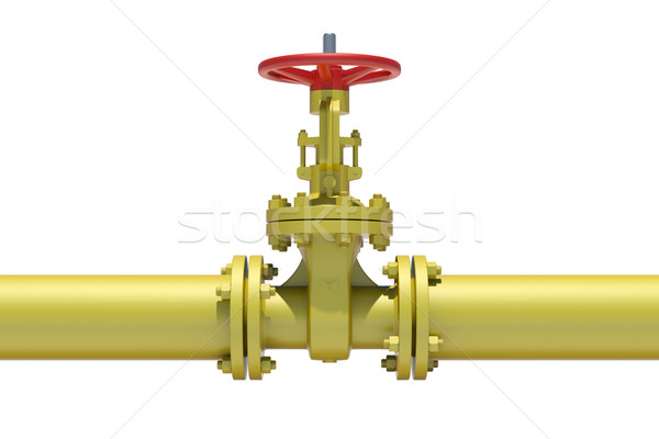 Yellow industrial valves and pipe Stock photo © cherezoff
