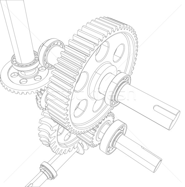 Wire-frame reducer consisting of gears, bearings and shafts. Vector Stock photo © cherezoff
