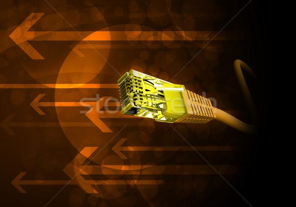żółty kabel komputerowy streszczenie Zdjęcia stock © cherezoff