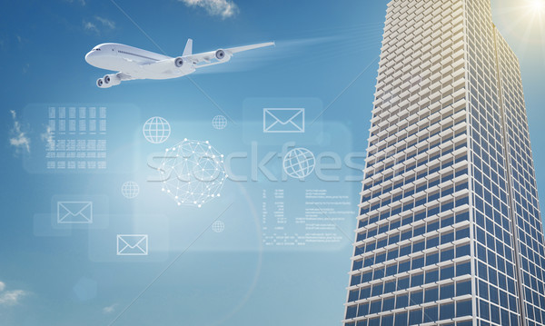 Jet with building and icons Stock photo © cherezoff