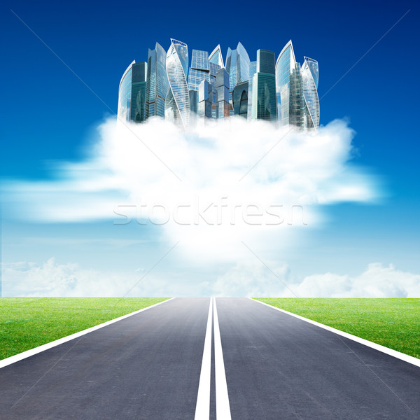 Stock photo: City on clouds in blue sky