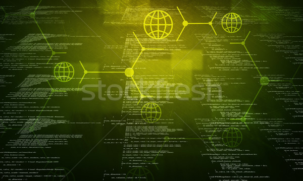 Verde código binário preto colorido computador luz Foto stock © cherezoff