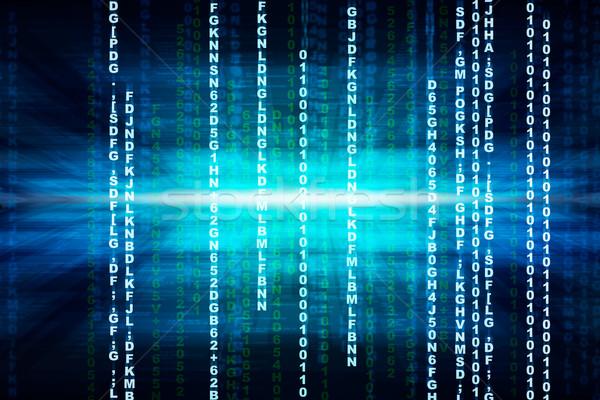 Binair Blauw computer code matrix abstract Stockfoto © cherezoff