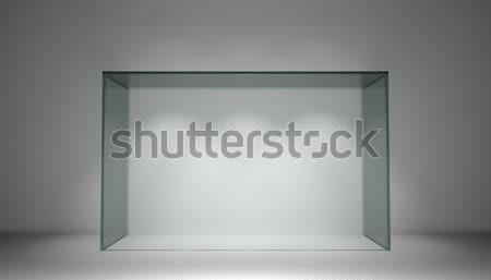 Empty glass showcase for exhibit in gray room Stock photo © cherezoff