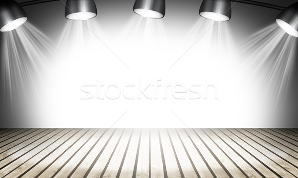 Illuminated empty concert stage with rays of light Stock photo © cherezoff