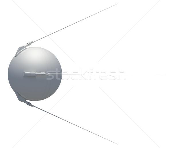 Foto stock: Satélite · aislado · blanco · 3D · fondo