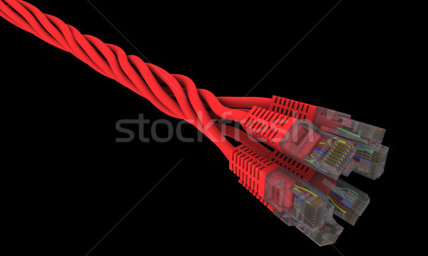 twisted network cables on a black background Stock photo © cherezoff