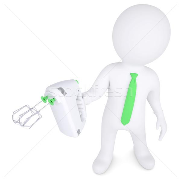 3d man with hand mixer Stock photo © cherezoff